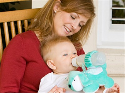 Mom and Baby with Bottle Holder