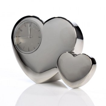 Twin Heart Engraved Clock
