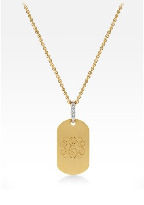 14k Gold Womens Dog Tag Necklace