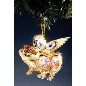 Flying Pig Swarovski Gold Plated Ornament