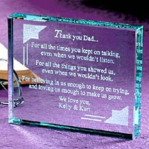 Thank You Dad Glass Paperweight